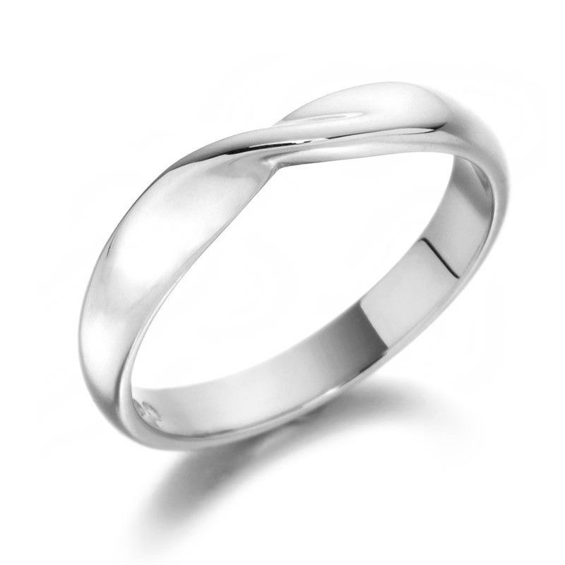 Platinum shaped band with a twist Wedding Rings Waltons of Chester Diam