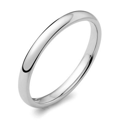 Platinum 2mm light court ladies wedding ring