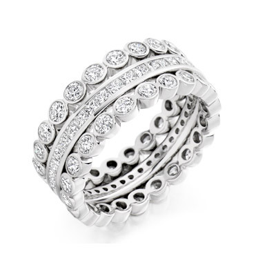 Princess & Round Brilliants Channel Set Ring