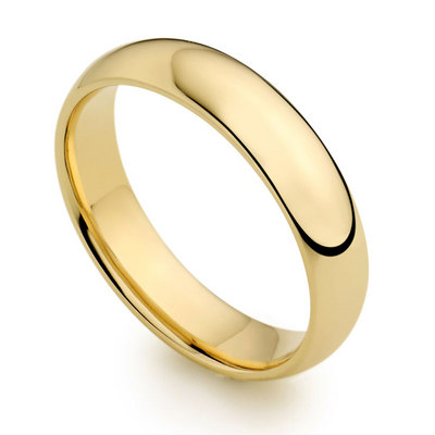 5mm 18ct yellow gold light court wedding ring
