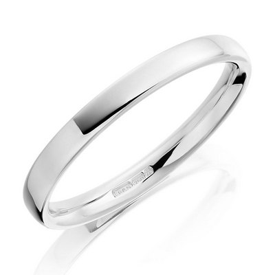 Platinum 2mm flat court with softened edges wedding ring