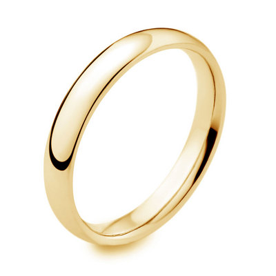 18ct yellow gold 3mm light court wedding ring