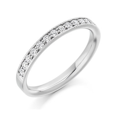 Round Brilliant Milgrain Channel Set Ring