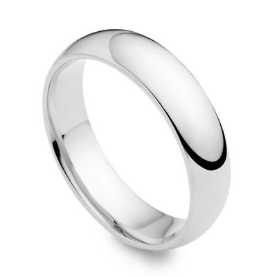 Platinum 6mm medium court wedding ring