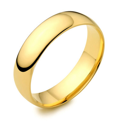 6mm 18ct yellow gold light court wedding ring