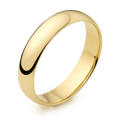 4mm 18ct yellow gold light court wedding ring