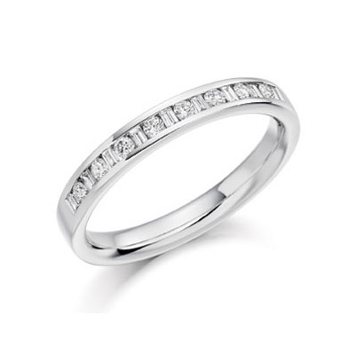 Round & Baguette Channel Set Ring