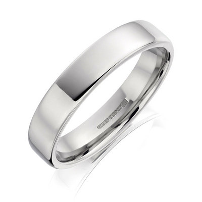 5mm platinum flat court with softened edges wedding ring